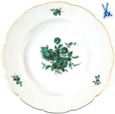 MEISSEN PORCELAIN PLATE COPPER GREEN FLORAL DESIGN BASKET WEAVE BORDER (qty)