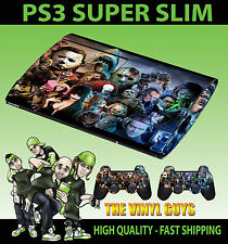 PLAYSTATION PS3 SUPER SLIM HORROR MONTAGE EVIL VILLAIN SKIN STICKER & 2 PAD SKIN