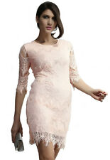 Light Peach Allover Lace Three Fourth Sleeves Bodycon Mini Dress Small