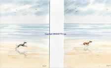 A Pair of Whippet greyhound dog ORIGINAL  Watercolour paintings By bridgette Lee