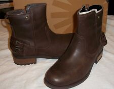 NIB Women's UGG ORION Leather Ankle Boots, Dark Brown, Sz 8 (39), $159