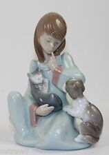 "LLADRO ""CAT NAP"" #5640 FIGURINE ~ GIRL W/KITTY CAT & PUPPY DOG ~ PERFECT!!! ~ ~"
