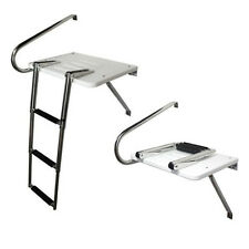 3 Step  Stainless Rails Boat Outboard Swim Platform Ladder Telescoping USA Store