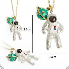 N909 Betsey Johnson Lucky Green Jupiter Saturn Spaceman Make a Wish Necklace