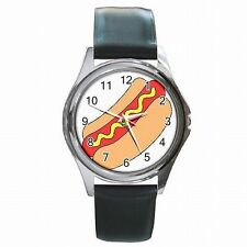 Hot Dog Eating Competition Hotdog Food Cart Leather Watch New!