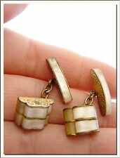 LOVELY VINTAGE 1940's MOP MOTHER OF PEARL PAIR of CUFFLINKS ! VISIT MY STORE !