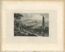 ANTIQUE VERVIERS BELGIUM VILLAGE HOUSES CHURCH LANDSPACE CHIMNEY HORSE OLD PRINT