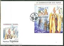 TOGO 2014 CANONIZATION OF POPE JOHN PAUL II   SOUVENIR SHEET FIRST DAY COVER