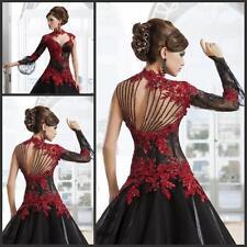 Burgundy Lace Hochzeitskleid Ballkleid Brautkleider Abendkle Gr.32 34 36 38 40+