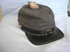 U. S, CIVIL WAR CONFEDERACY ARMY GREY WOOL KEPI HAT CAP ADJUSTABLE SIZE