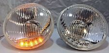 """Pair 5 3/4"""" Crystal Headlights Lamps with 5 LED Amber Marker Turn Signal Lights"""