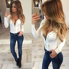 Fashion Women Sexy Long Sleeve Shirt Casual Blouse Loose Cotton Tops T Shirt