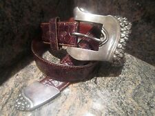 Rare!! Kieselstein-Cord Serpent Buckle with End Tip and Brown Alligator Belt