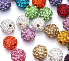 50pcs Czech Crystal Rhinestones Pave Clay Round Disco Ball Spacer Bead 10mm DIY
