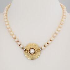 """PERLEN-KETTE """"Akoya-Perlen mit Schließe Brill/Perle""""Handarbeit 14K/585 GG-WG"""