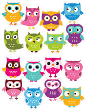 Cute Owls Removable Repositionable Fabric Wall Decal Stickers 16 Piece Set
