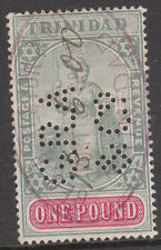 TRINIDAD 1896 #124 PERFIN FISCAL USED 1900 VICTORIA £1 STAMP