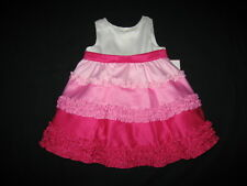 "NEW ""SHADES OF ROSE"" Ruffle Satin Dress Girls 2T Spring Summer Easter Clothes"