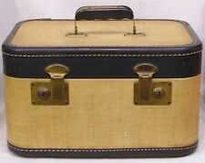 Vintage Train Case Tan Dark Brown 1930s Stitched Leatherette Trim