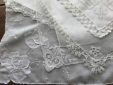 Vintage Lot 5 Lace Embroidered White Wedding Bridal Hankies Handkerchiefs
