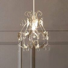 Shabby Chic Leaf Light shade Pendent Vintage Lighting Cream and Brushed Gold