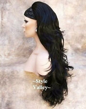 BACK IN! Long Black 3/4 Wig Fall Long Wavy Layered Hair Piece color #1 GORGEOUS!