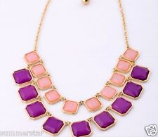 Pink and Purple Box  Double Layer Necklace