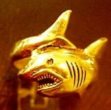LOOK 24kt Gold Plated 14 GRAMS Shark Ring JAWS HEAVY Jewlery