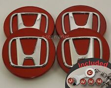 Honda Civic Accord Pilot Odyssey Pilot Element CRV 69mm Red 4x Center Caps Cap