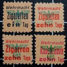 German WW2 SS Wehrmacht Cigarette/Cigar/Tobacco ration stamps-BLACK EIN TAG-MNG