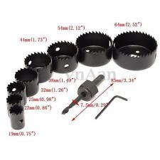 Kit  8Pcs Scie Cloche 19-64mm Drill Bit Mèche Foret HSS Hex Pr Bois Platre Placo