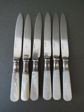 Vintage Art Deco Mother of Pearl Silver Plated Knives Set for 6