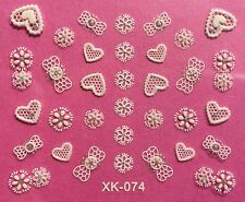 Nail Art 3D Decal Stickers White Hearts & Bows XK074