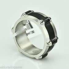 MOVADO STAINLESS STEEL MEN'S BAND WITH BLACK MIDDLE RING SIZE 8.5