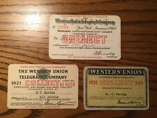 Western Union Telegraph Collect Cards Early Pass Lot Passes