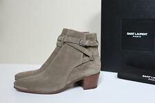 New sz 7 / 37 Saint Laurent Blake Kaki Taupe Suede Ankle Bootie Low Heel Shoes