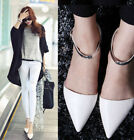 2015 Womens Classic leather Pointy Toe Flat Oxford Pump Ankle Strap Party Shoes