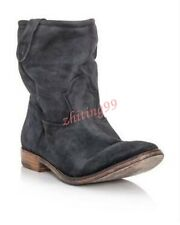 Womens Ankle Boots Suede Pull On Roma Slouch Leather Vintage Flat Shoes 4-10 Hot