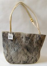 Fabric Purse Gray Tan Beads Faux Leather Shoulder Bag Handbag Tote Lined Gift
