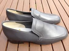 VINTAGE 1960's/70's Curtess in finta pelle Vegan Grigio Mocassini Scarpe UK 8 EU 42