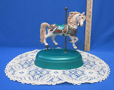 1989 Carousel Horse Music Box Alberta Molds Plays Talk To The Animals & Doily