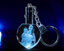 Personalized Photo Picture Laser Engraved  Crystal Key Chain LED Light Gift