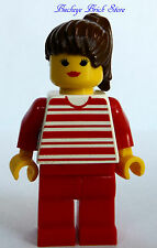 Lego FEMALE MINIFIG - Town Torso w/Red Horizontal Lines Red Legs 4554 Brown Hair