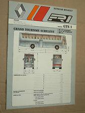 Prospectus Autocar Renault GTS1  1987  Bus catalogue brochure prospekt busse
