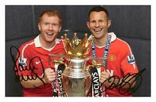 PAUL SCHOLES & RYAN GIGGS - MANCHESTER UNITED SIGNED A4 PP POSTER PHOTO