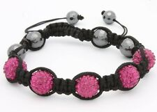 Macrame Beaded Bracelet Crystal Pave Dark Violet Disco Ball with Gift Box