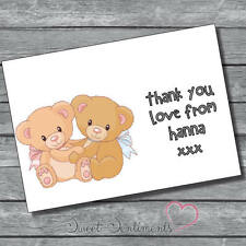 Pk 12 Personalised Cute Teddy Bear Thank You Cards & envelopes