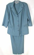 NWOT Florentine Petite Career Women's 10P 2pc Beautiful Teal Blazer & Crop Pants