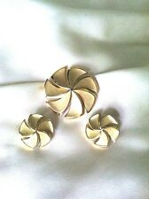 Crown Trifari Swirled Pin & Earring Demi Parure Set  Brushed & Glossy Gold Tone