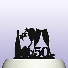 Acrylic 50th Birthday Balloon and Stars Cake Topper Decoration For Man & Woman